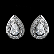 Antique Rhodium Silver Teardrop Encrusted Petite CZ Crystal Stud Children's Earrings 7404