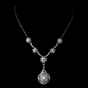 Antique Rhodium Silver Vintage  Great Gatsby Inspired Necklace Drop Necklace 7743