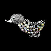* Antique Silver AB Rhinestone Duck Pin w/ Green Rhinestone Eyes Brooch 99