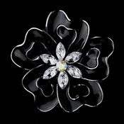 * Antique Silver Black Flower with Clear and AB Rhinestones Brooch 161 *0 Left *