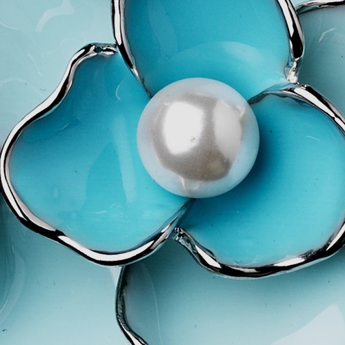 Antique Silver Blue Flower with White Pearl Brooch 146