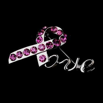 "* Antique Silver Breast Cancer Pink Rhinestone ""Love"" Brooch 153"
