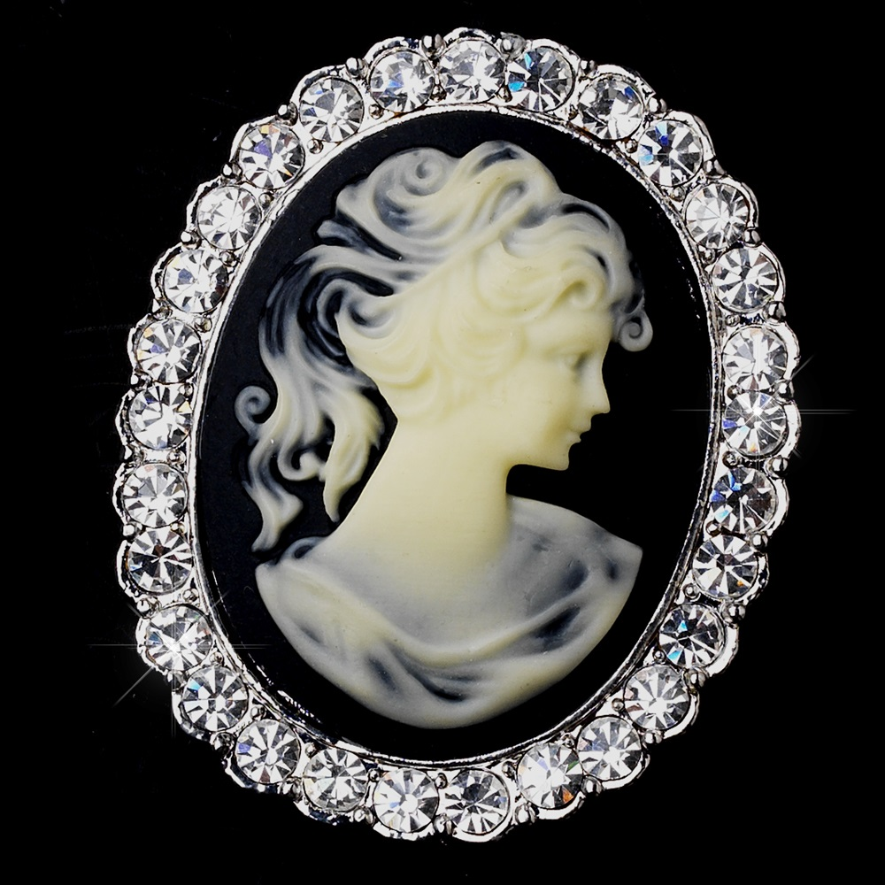 Antique Silver Cameo Brooch With Black Background And Rhinestone Border 147