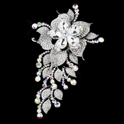 * Antique Silver Clear & AB Rhinestone Large Floral Brooch 180