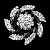 * Antique Silver Clear Black Rhinestone Accent Brooch 228