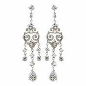 Antique Silver clear Chandelier CZ Earrings E 1972