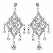 Antique Silver Clear CZ Crystal Bridal Earrings 8918