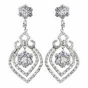 Antique Silver Clear CZ Crystal Flower Bulb Bridal Earrings 8748