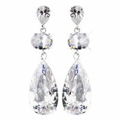 Antique Silver Clear CZ Earrings E 1900