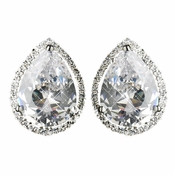 Antique Silver Clear CZ Stud Earring E 5141