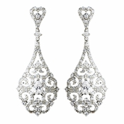 Antique Silver Clear CZ Tear Drop Crystal Dangle Bridal Earrings 8780