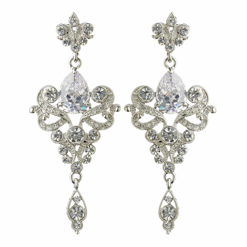 Antique Silver Or Silver Clear Dangle Tear Drop Cz Crystal