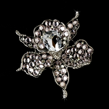 * Antique Silver Clear Light Pink Rhinestone Brooch 82