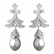 Antique Silver Clear Pearl & CZ Earring 5488