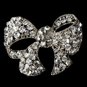 Antique Silver Clear Rhinestone Bow Pin Brooch 51