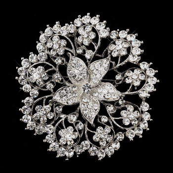 Antique Silver Clear Rhinestone Brooch 193