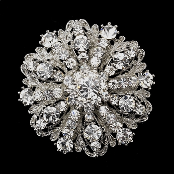 Antique Silver Clear Rhinestone Brooch 194