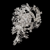 Antique Silver Clear Rhinestone Brooch 202