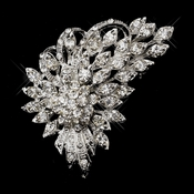 Antique Silver Clear Rhinestone Brooch 205