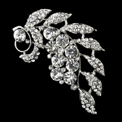 Antique Silver Clear Rhinestone Brooch 30495