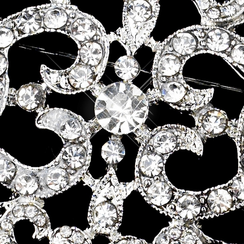 Antique Silver Clear Rhinestone Brooch 30732