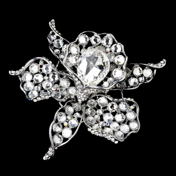 * Antique Silver Clear Rhinestone Brooch 82