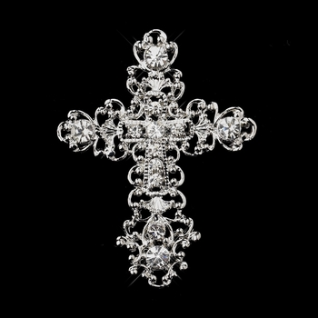 * Antique Silver Clear Rhinestone Cross Brooch 201 ** 1 Left **
