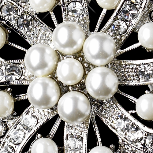 * Antique Silver Clear Rhinestone & Diamond White Pearl Brooch 222***Discontinued***