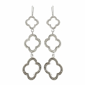 Antique Silver Clear Rhinestone Earrings 8715