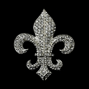 Antique Silver Clear Rhinestone Fleur De Lis Brooch 109