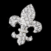 * Antique Silver Clear Rhinestone Fleur De Lis Brooch 416***Only 1 Left****