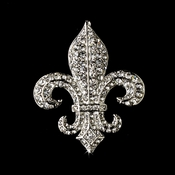 Antique Silver Clear Rhinestone Fleur De Lis Brooch 80 Small