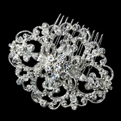 Antique Silver Clear Rhinestone Floral Swirl Brooch 189