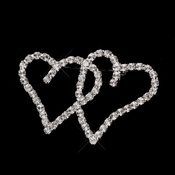 * Antique Silver Clear Rhinestone Heart Brooch 192