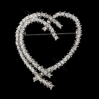 Antique Silver Clear Rhinestone Heart  Brooch 198