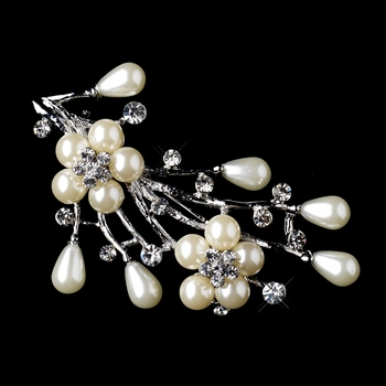 * Antique Silver Clear Rhinestone & Ivory Pearl Bouquet Brooch 227