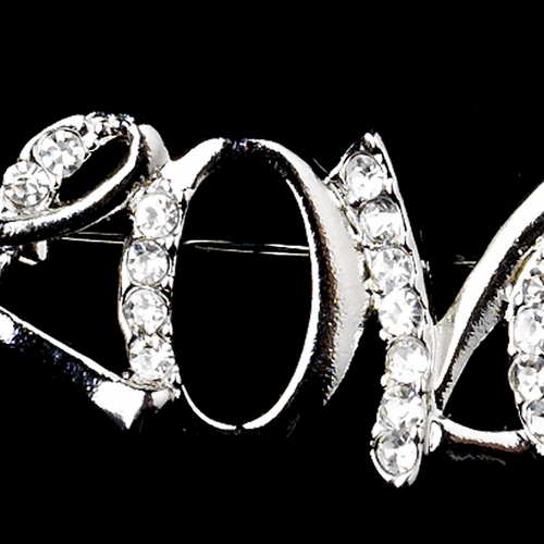 "Antique Silver Clear Rhinestone ""Love"" Brooch 221"