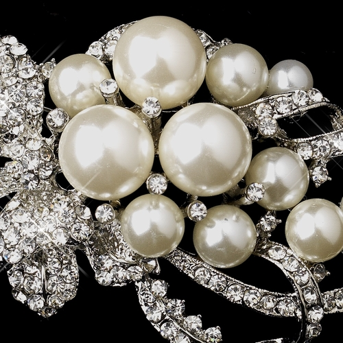 * Antique Silver Clear Rhinestones with White or Ivory Pearl Accent Brooch 211