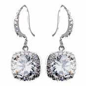 Antique Silver Clear Round CZ Crystal Stud Bridal Earrings 8652