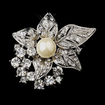 Antique Silver Clear w/ Rhinestones and Diamond White Pearl Accent Brooch 208