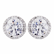 Antique Silver CZ Post Stud Earrings 4731