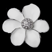 Antique Silver CZ White Enamel Flower Brooch 4048
