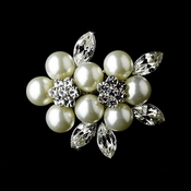 * Antique Silver Diamond White Pearl and Rhinestone Brooch 118