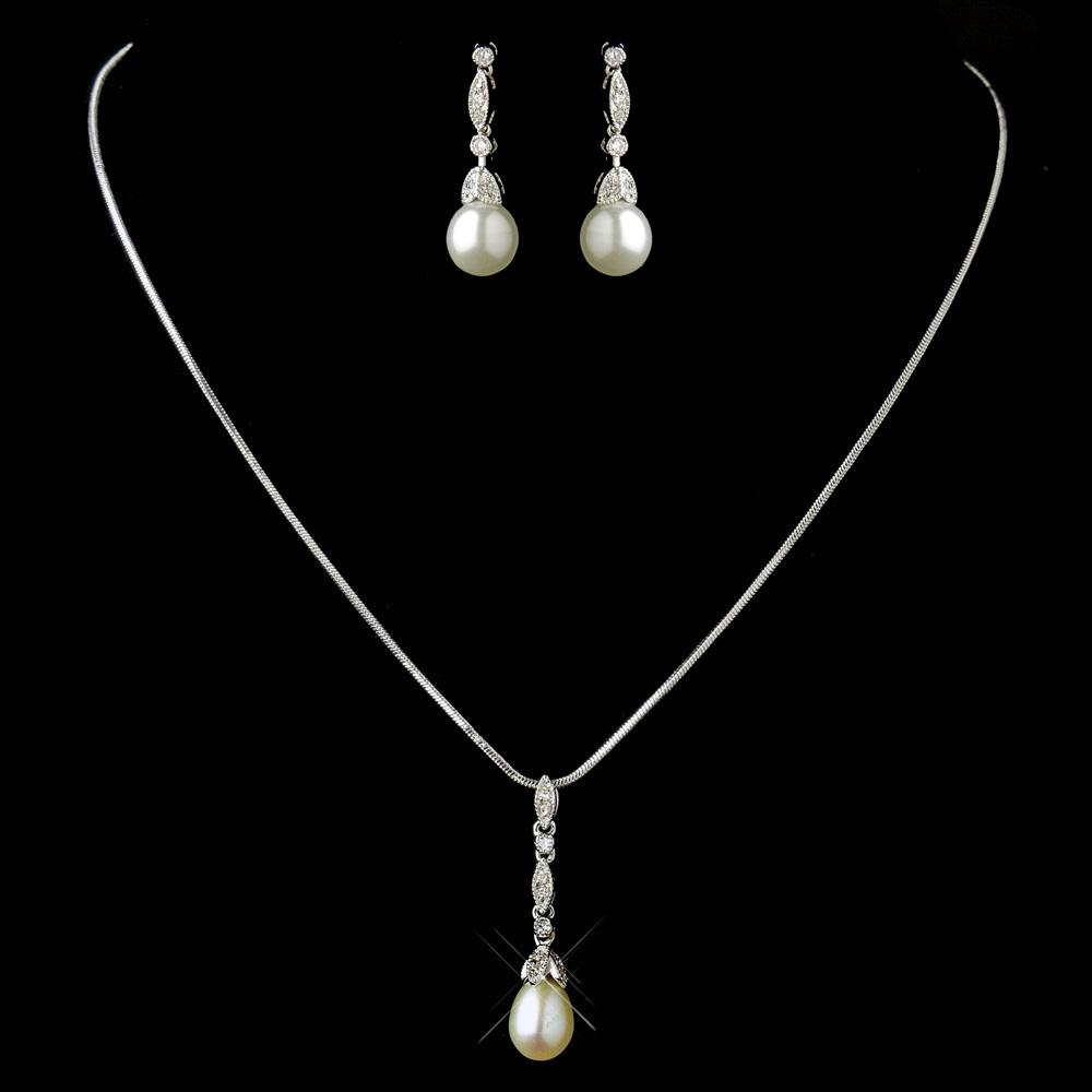 antique silver diamond white pearl drop pear clear cz