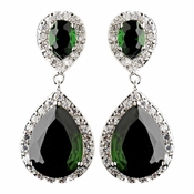 Antique Silver Emerald CZ Tear Drop Earrings 7850