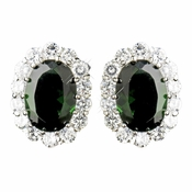 Antique Silver Emerald Green CZ  Crystal Stud Bridal Earrings 9085