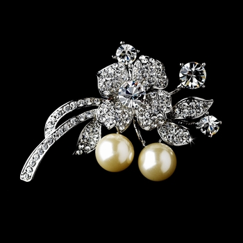 * Antique Silver Floral Brooch with Clear Rhinestones and Diamond White Pearls Brooch 91