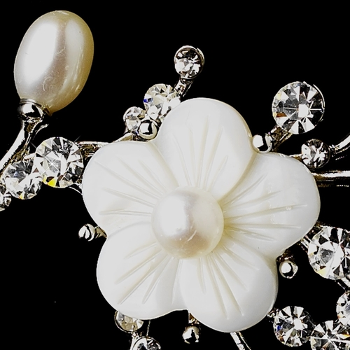 Antique Silver Flower Freshwater Pearl with Rhinestone Brooch 167