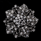 Antique Silver Flower with Rhinestones Brooch 156