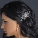 Antique Silver Freshwater Pearl, Swarovski Crystal & Rhinestone Flower and Leaf Hair Comb 757
